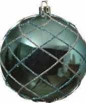 1x kerstballen turquoise blauw 8 cm met zilveren glitters kunststof kerstboom versiering decoratie