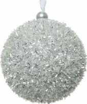 1x kerstballen zilver sneeuwbal 8 cm met glitterskunststof kerstboom versiering decoratie