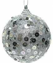 1x kerstballen zilveren glitters 8 cm met pailletten kunststof kerstboom versiering decoratie