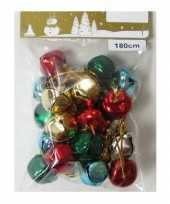 1x kerstslingers met metalen belletjes klokjes in diverse kleuren 180 cm