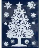 1x witte kerst raamstickers kerstboom met sneeuwvlokken 40 cm