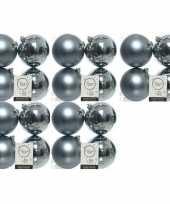 20x kunststof kerstballen glanzend mat grijsblauw 10 cm kerstboom versiering decoratie