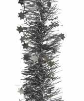 2x antraciet kerstboom folie slinger met ster 270 cm