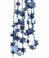 2x blauwe kerstboom sterren kralenketting 270 cm