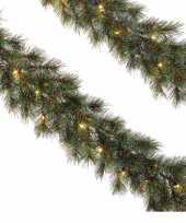 2x dennenslingers kerstslingers met kerstverlichting 270 cm