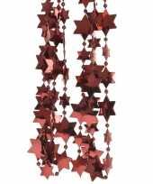 2x donker rode kerstboom sterren kralenketting 270 cm