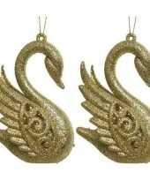 2x gouden zwanen kerstornamenten kersthangers 10 cm