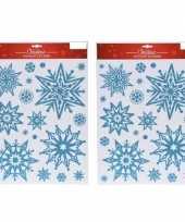 2x kerst decoratie stickers blauwe glitter ijssterren plaatjes 30 x 40 cm 10145437