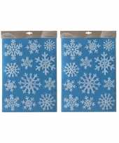 2x kerst decoratie stickers ijsbloemen plaatjes 30 x 40 cm