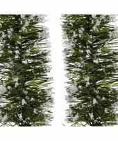 2x kerst lametta guirlande groen besneeuwd 7 x 200 cm kerstboom versiering decoratie
