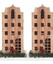 2x kerstdorp maken kersthuisjes grachtenpand 21 cm met led lampjes