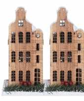2x kerstdorp maken kersthuisjes grachtenpand halsgevel 21 cm met led lampjes