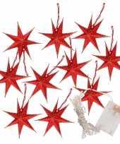 2x kerstverlichting op batterijen lichtsnoer met rode papieren sterren 250 cm