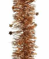 2x koper bruine kerstboom folie slinger met ster 270 cm