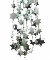 2x mintgroene kerstboom sterren kralenketting 270 cm