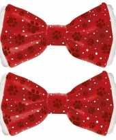 2x rode kerststrikken voor huisdieren 6 x 13 cm