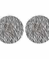 2x ronde kerstdiner diner onderborden zebraprint 33 cm