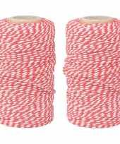2x rood wit bakkerstouw van katoen 100 meter