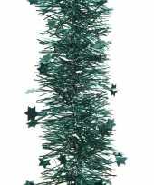 2x smaragd groene kerstboom folie slinger met ster 270 cm