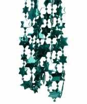 2x smaragd groene kerstboom sterren kralenketting 270 cm