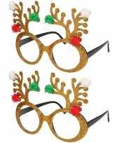 2x stuks kerstaccessoires gouden rendierbrillen voor dames en heren