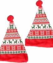 2x stuks tiener kerstmutsen gebreid patroon
