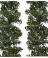 2x verlichte kerst guirlande slinger groen met verlichting 270 cm dennenslinger versiering decoratie