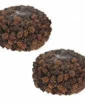2x zakjes decoratie dennenappeltjes bruin 300 gram 3 cm herfststukje kerststukje maken