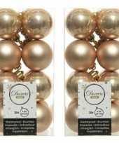 32x kunststof kerstballen glanzend mat donker parel champagne 4 cm kerstboom versiering decoratie