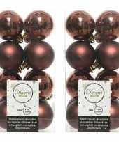 32x kunststof kerstballen glanzend mat mahonie bruin 4 cm kerstboom versiering decoratie