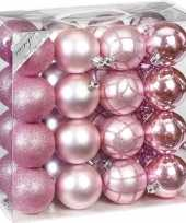 32x kunststof kerstballen pakket roze tinten 7 cm