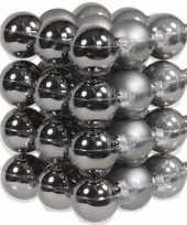 36x glazen kerstballen mat en glans grijs tinten 4 cm