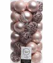 37x kunststof kerstballen mix lichtroze 6 cm kerstboom versiering decoratie