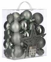 39x kunststof kerstballen 8 cm met ster piek mint groen