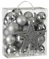 39x kunststof kerstballen 8 cm met ster piek zilver