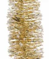 3x gouden kerstboom folie slingers met sneeuw 200 cm