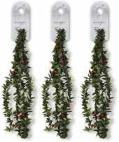 3x kerst guirlandes groen met rode versiering150 cm dennenslinger versiering decoratie