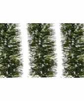 3x kerst lametta guirlande groen besneeuwd 7 x 200 cm kerstboom versiering decoratie