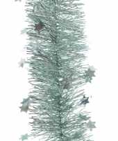 3x kerst lametta guirlandes mintgroen sterren glinsterend 10 x 270 cm kerstboom versiering decoratie