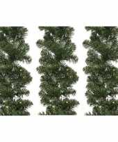 3x verlichte kerst guirlande slinger groen met verlichting 270 cm dennenslinger versiering decoratie