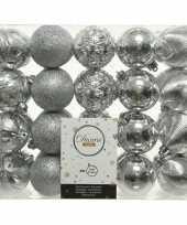 40x kunststof kerstballen mix zilver 6 cm kerstboom versiering decoratie