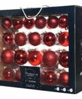 42x glazen kerstballen glans mat glitter kerst rood 5 6 7 cm kerstboom versiering decoratie