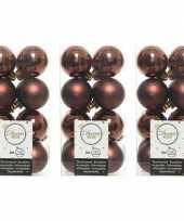 48x kunststof kerstballen glanzend mat mahonie bruin 4 cm kerstboom versiering decoratie