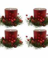 4x kerstdecoratie theelichthouders rood 8 cm
