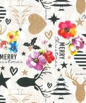 4x rollen inpakpapier cadeaupapier kerst wit gekleurde kitsch print 250 x 70 cm luxe kwaliteit