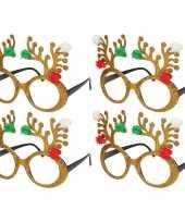 4x stuks kerstaccessoires gouden rendierbrillen voor dames en heren