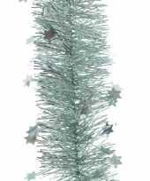 5x kerst lametta guirlandes mintgroen sterren glinsterend 10 x 270 cm kerstboom versiering decoratie