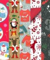 5x kerstmis kadopapier rollen 2 5 x 0 7 meter voor kinderen