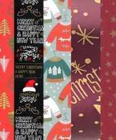 5x kerstmis kadopapier rollen 2 5 x 0 7 meter voor volwassenen