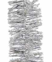 5x zilveren kerstboom folie slingers met sneeuw 200 cm